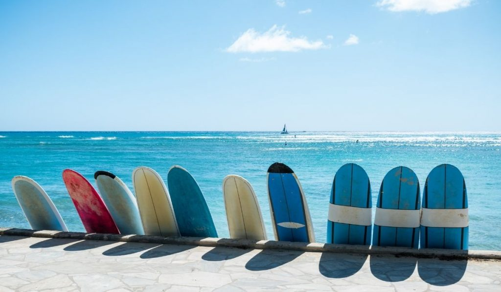 surf boards by the beach