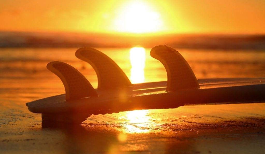 three fin surf board with sunset as background