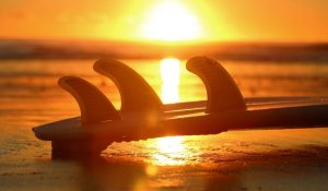 three-fin-surf-board-with-sunset-as-background