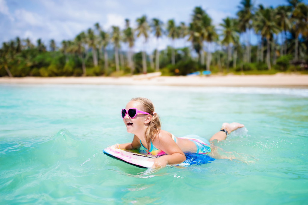 young girl on a boogie board