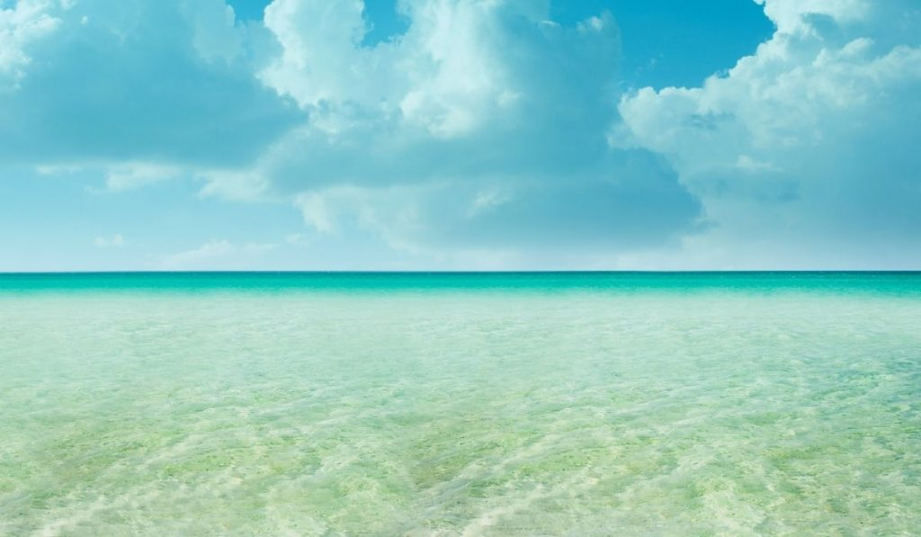 sunny weather and clear and calm ocean