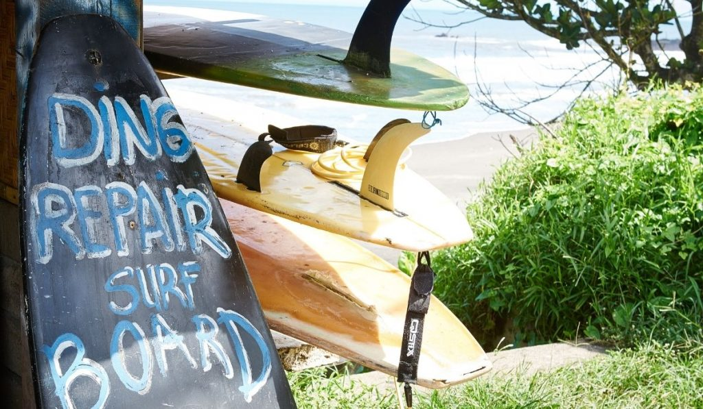 surfboard ding repair shop signage
